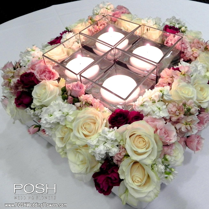 Centerpiece Large Square With Candles