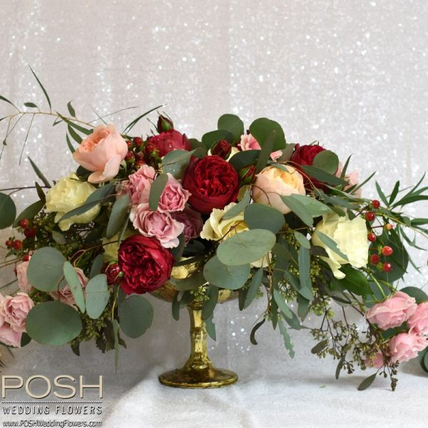 Low Cost Wedding Flowers: Centerpiece: Wild Garden Style Large Footed Compote