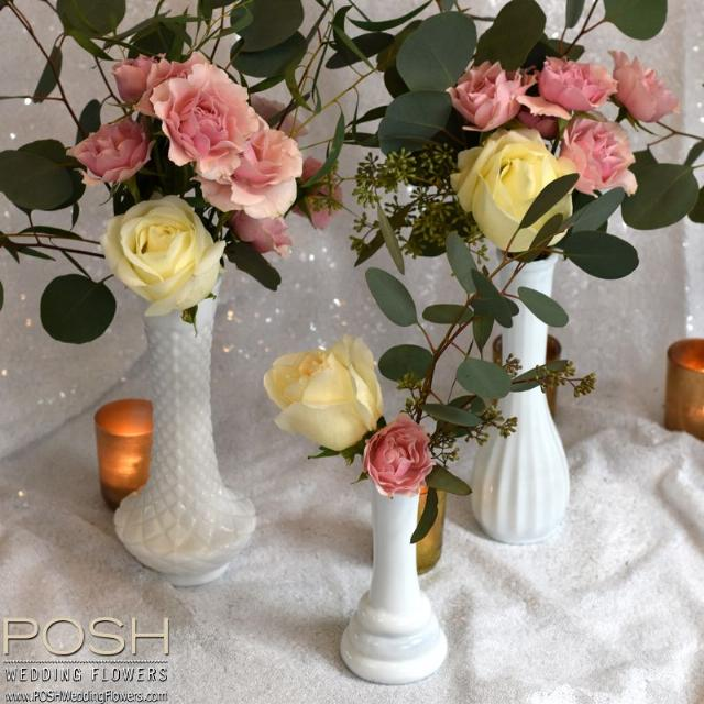Flowers in vintage milk glass vase seattle wedding flowers by posh flowers in vintage milk glass vase mightylinksfo