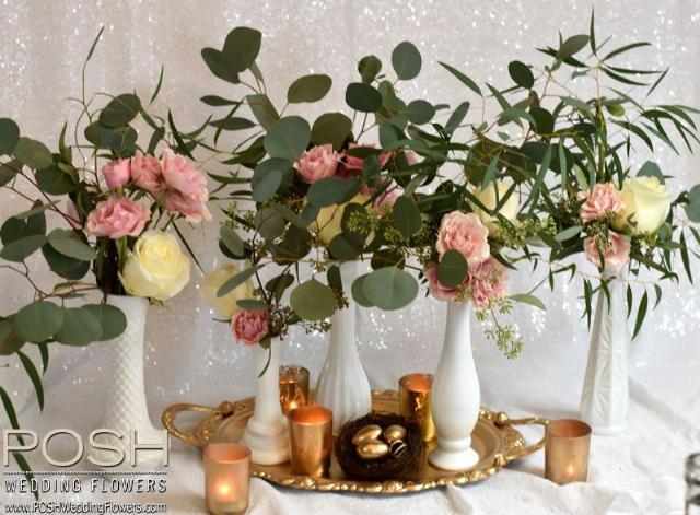 Flowers In Vintage Milk Glass Vase Seattle Wedding Flowers By Posh