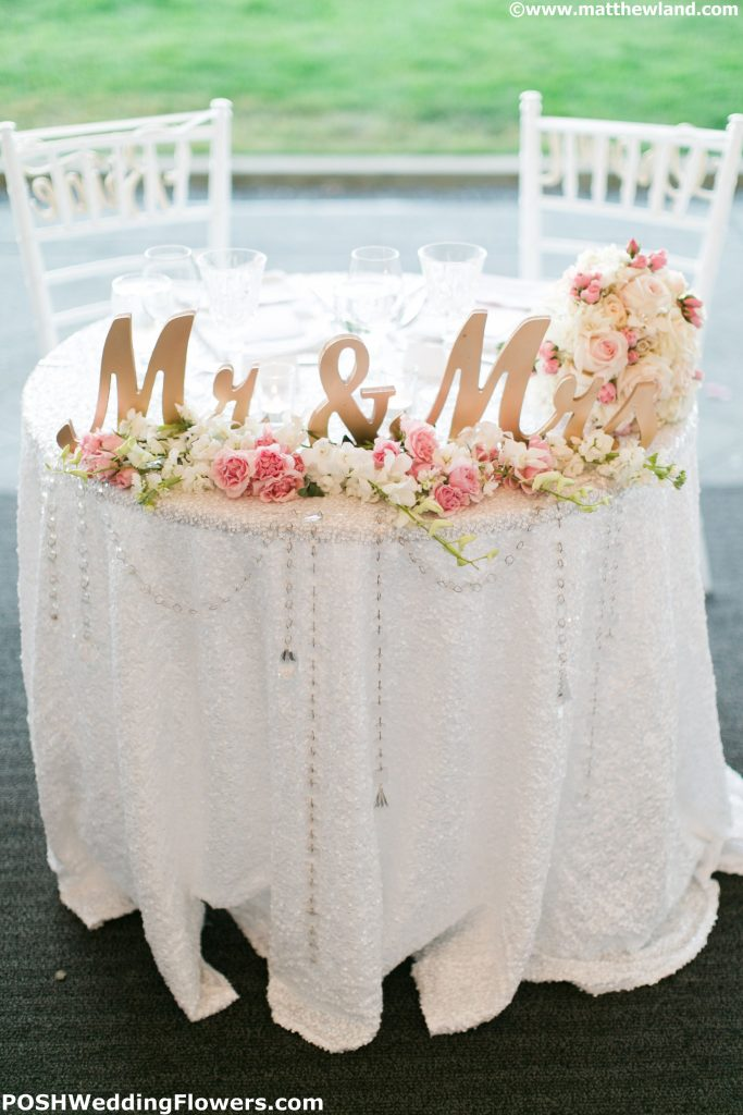 Romantic Sweetheart table with crystals