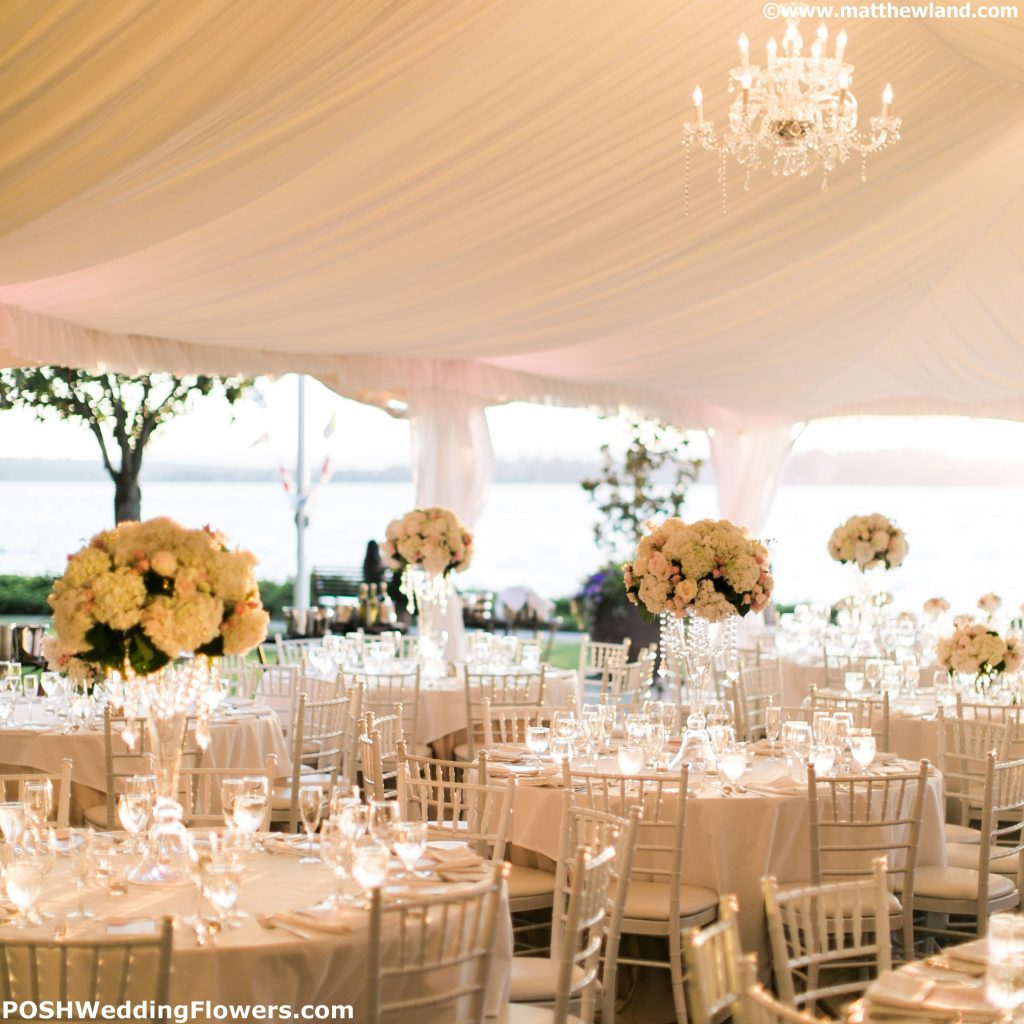 Tall centerpieces sparkling in the sunset