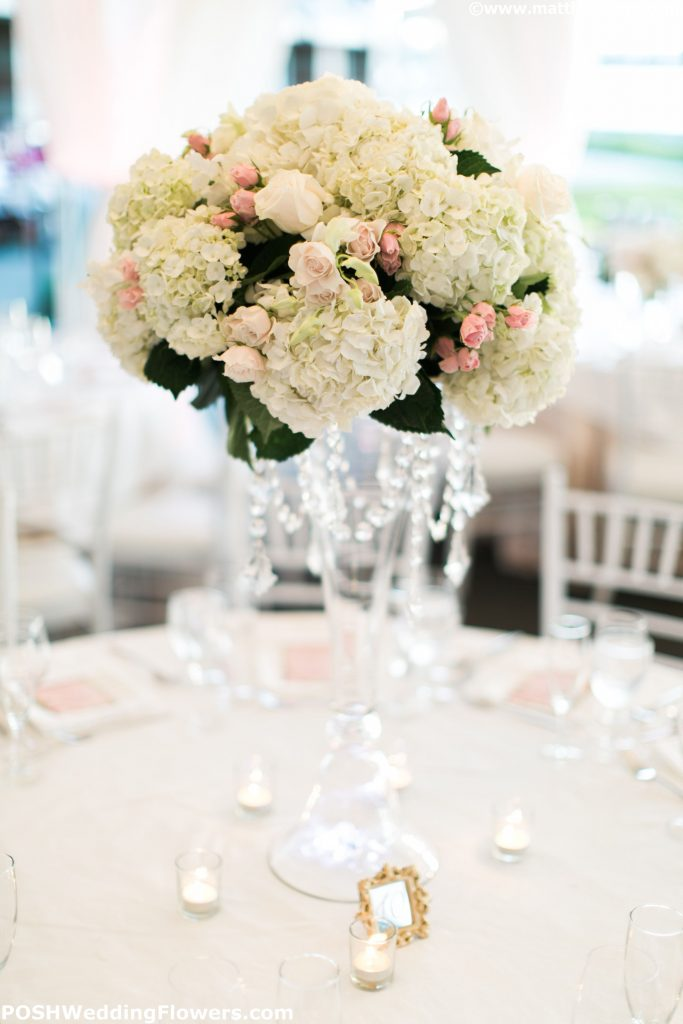 Tall centerpiece with dangling crystals