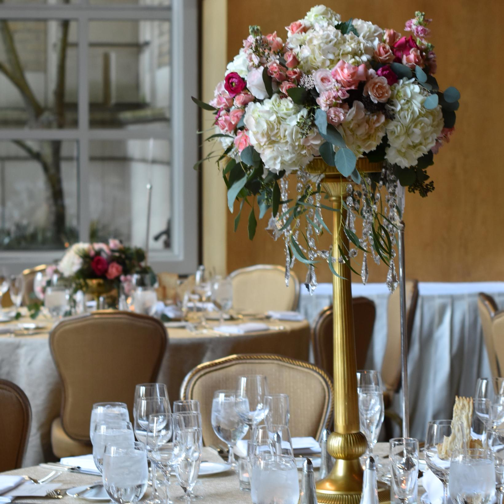 Centerpiece tall gold stand seattle wedding flowers by posh