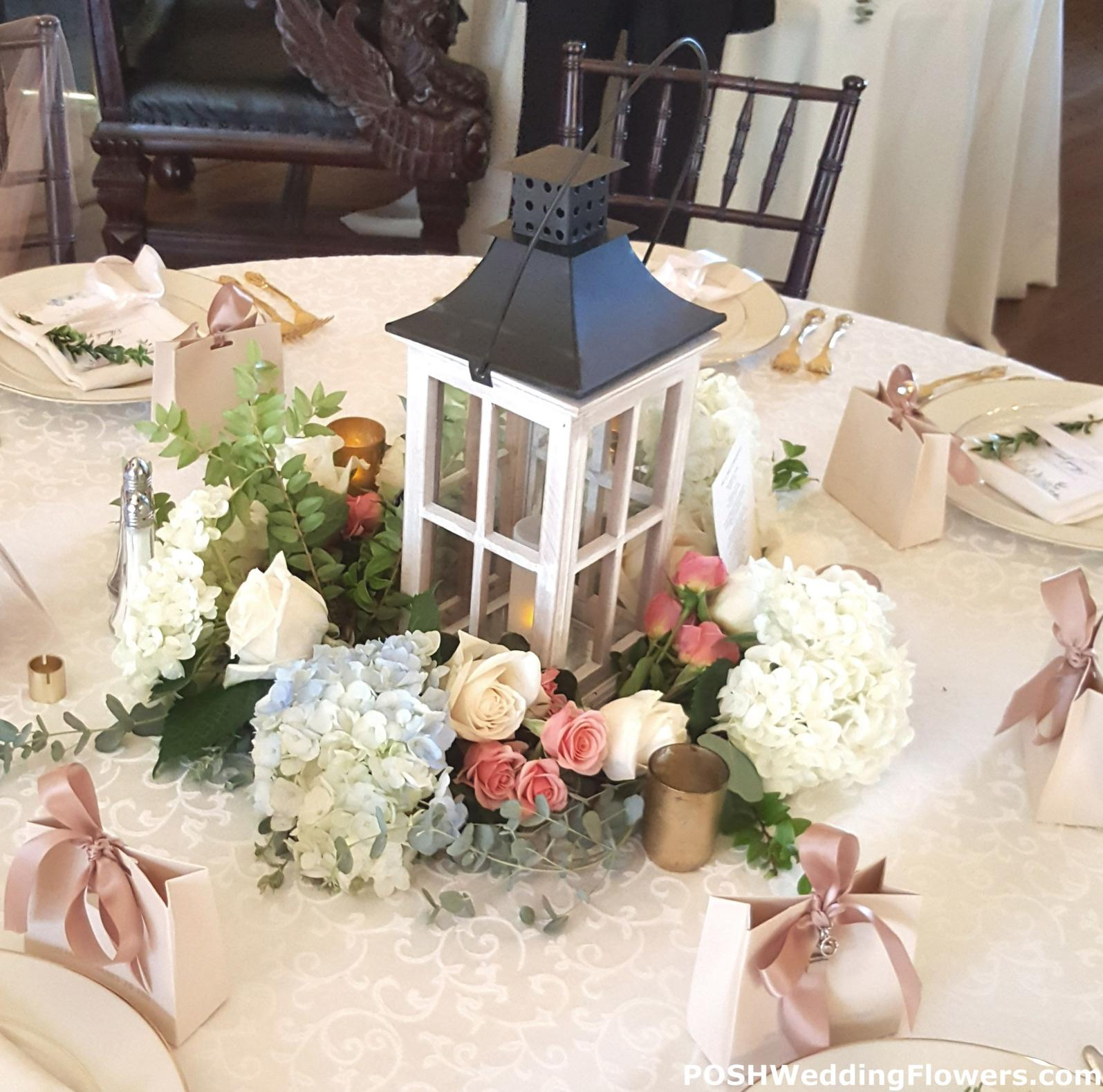 Centerpiece: Large Candle Lantern With Floral