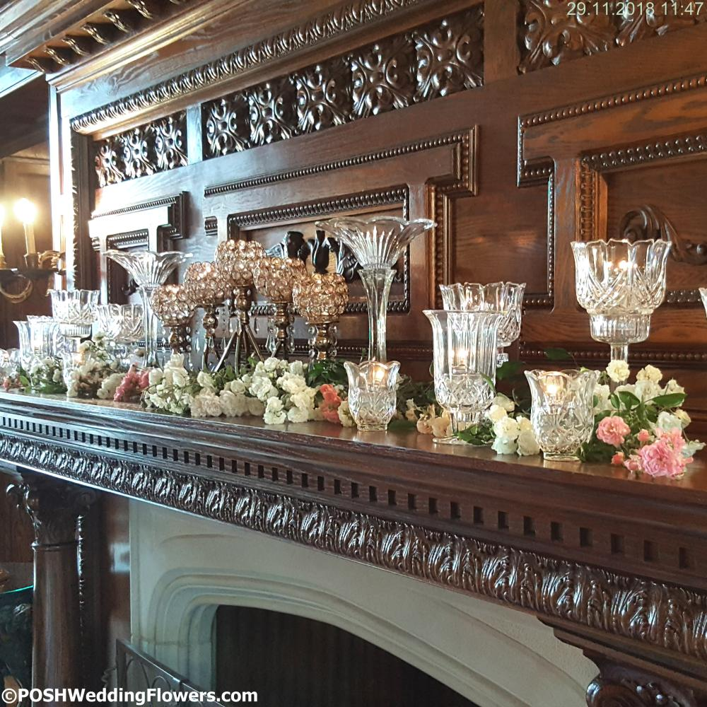 Thornewood Castle Mantle Decorated with garden roses for Shante
