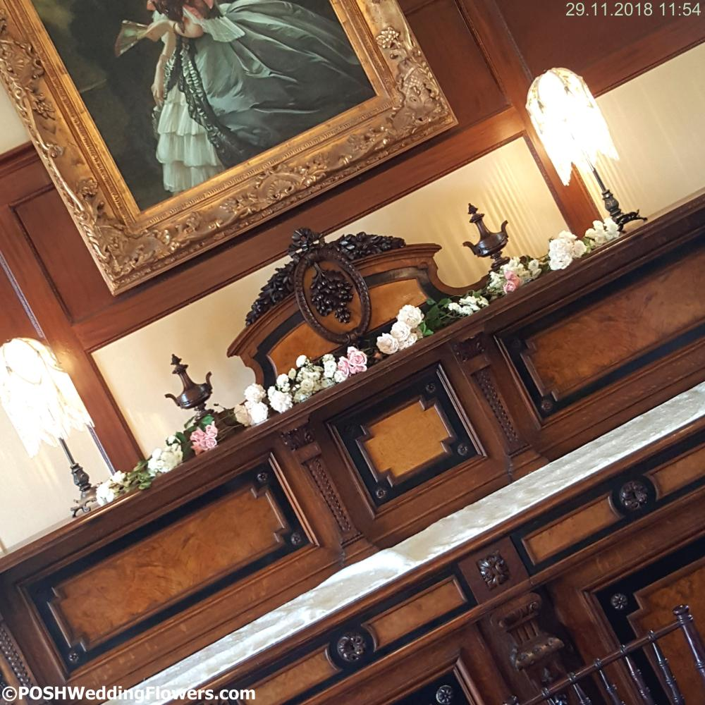 POSH Cutting Garden roses decorating the gorgeous Thornewood Castle Sideboard